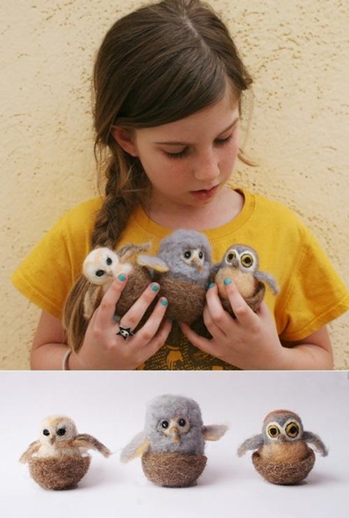 Felt cute little owls with the kids.