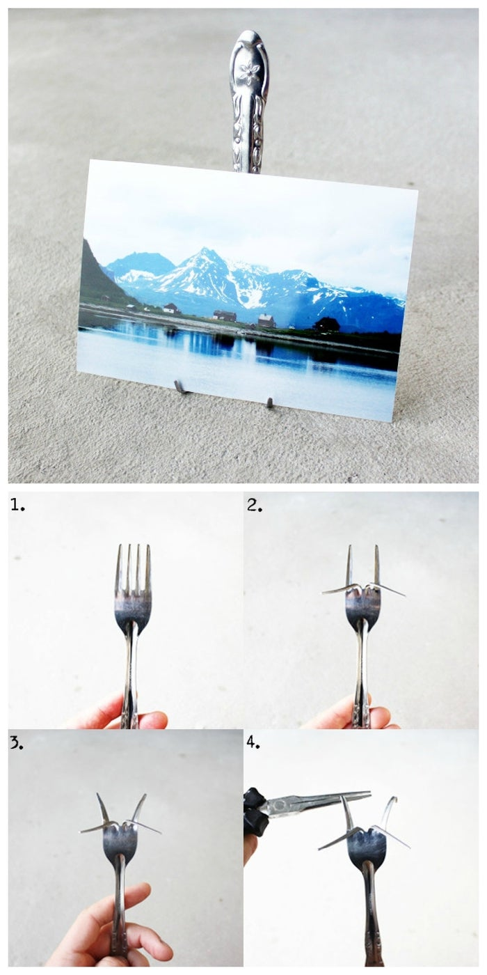Use pliers to bend the tines into a photo stand. Find the quick an easy tutorial here.