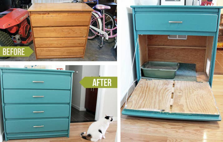 cat litter box furniture diy. perfect cat repainted shelf litter box hideaway learn about this diy at unusually  lovely on cat furniture diy y