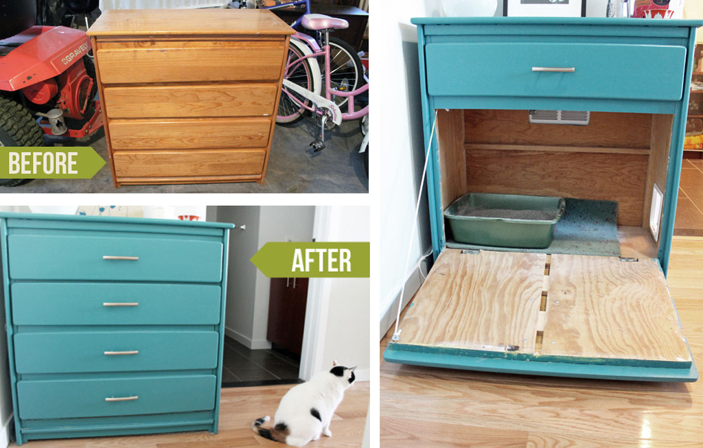 Repainted Shelf Litter Box Hideaway. Learn About This DIY At Unusually  Lovely.