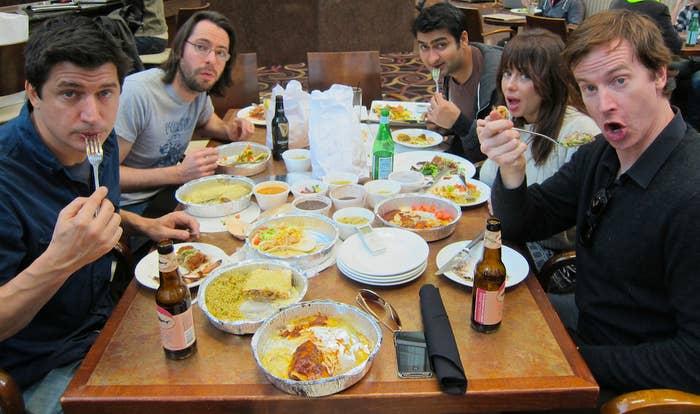 Clockwise, from left: Ken Marino, Martin Starr, Kumail Nanjiani, Natasha Leggero, and Rob Huebel.