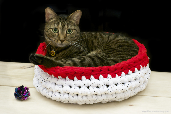 Crochet a cat bed with a giant hook.