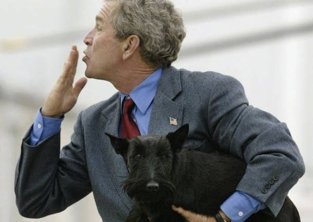 President George W. Bush with his Scottish Terrier Barney in 2004.
