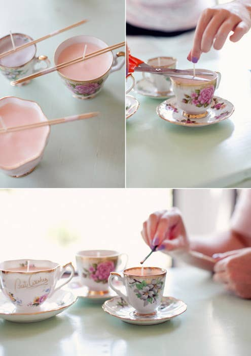 42 wedding favors your guests will actually want 20 candles made from thrifted teacups solutioingenieria Image collections
