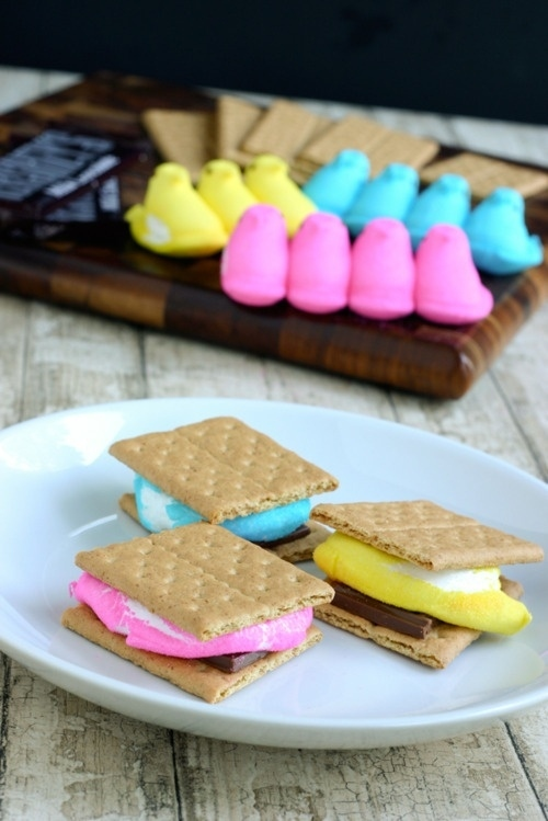 Use up leftover Peeps by making colorful s'mores with them.