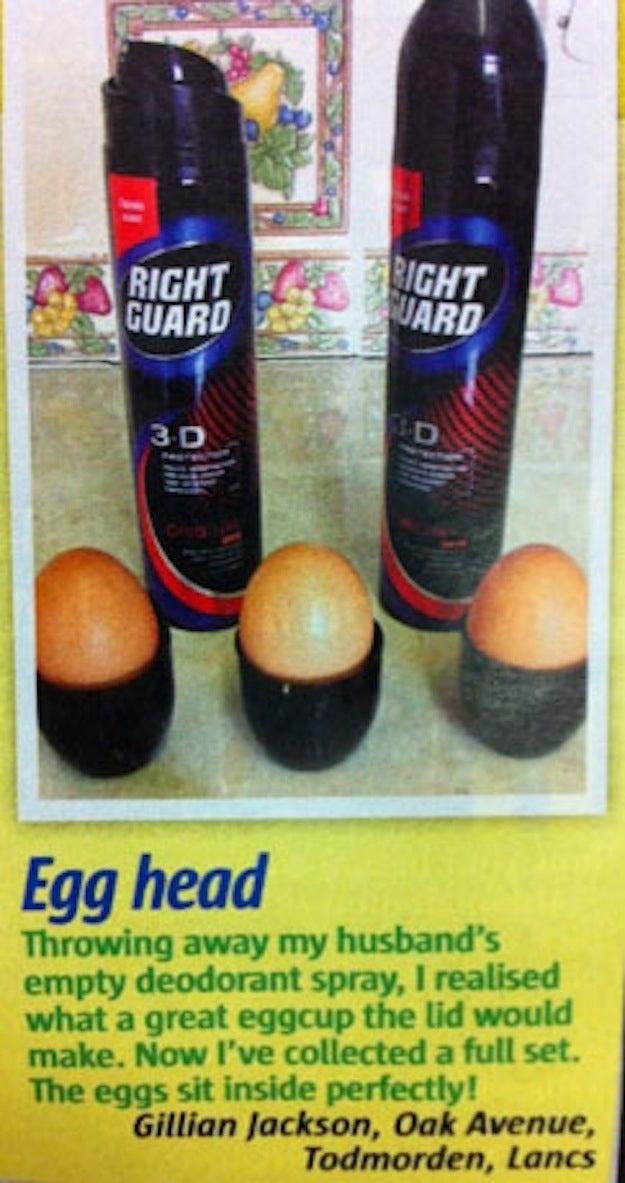 Delicious, eggs that taste like deodorant. Shower fresh!