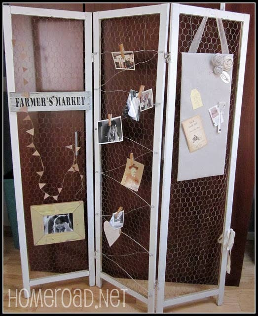 Revamp An Old Screen Divider With Chicken Wire