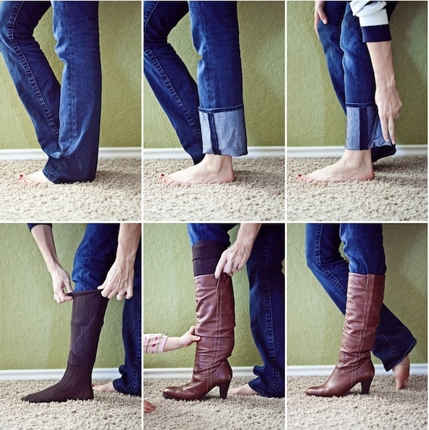 Leggings make wearing boots easy and bunch-free. Who wants to deal with this 6-step process?