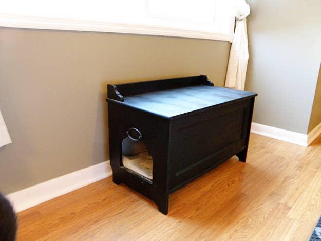 Handmade Wooden Bench Litter Box. 27 Useful DIY Solutions For Hiding The Litter Box
