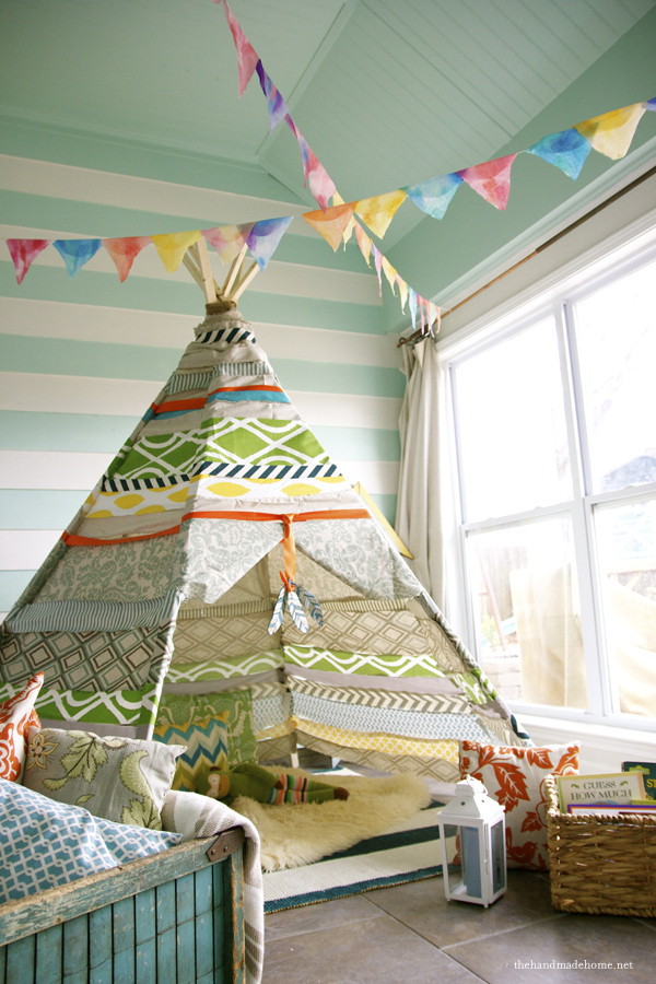 This awesome teepee does require a drill, but no sewing machine.