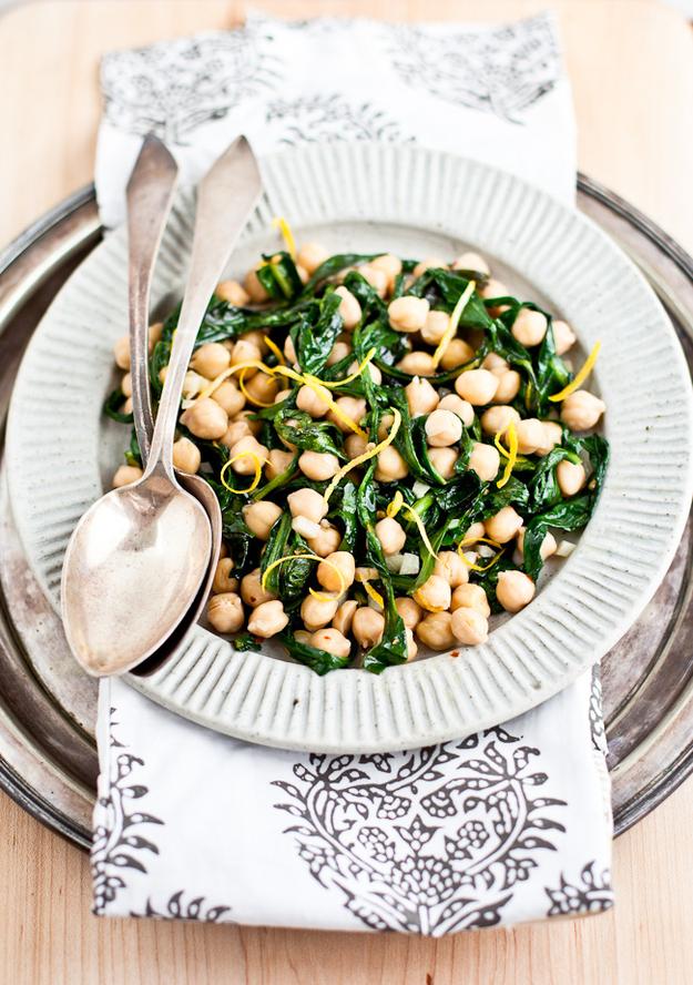 Chickpea And Dandelion Greens Salad