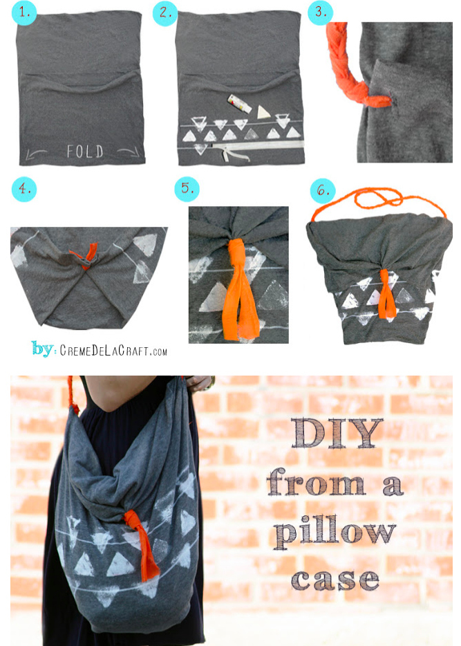 This cute hobo bag is made from a pillowcase.