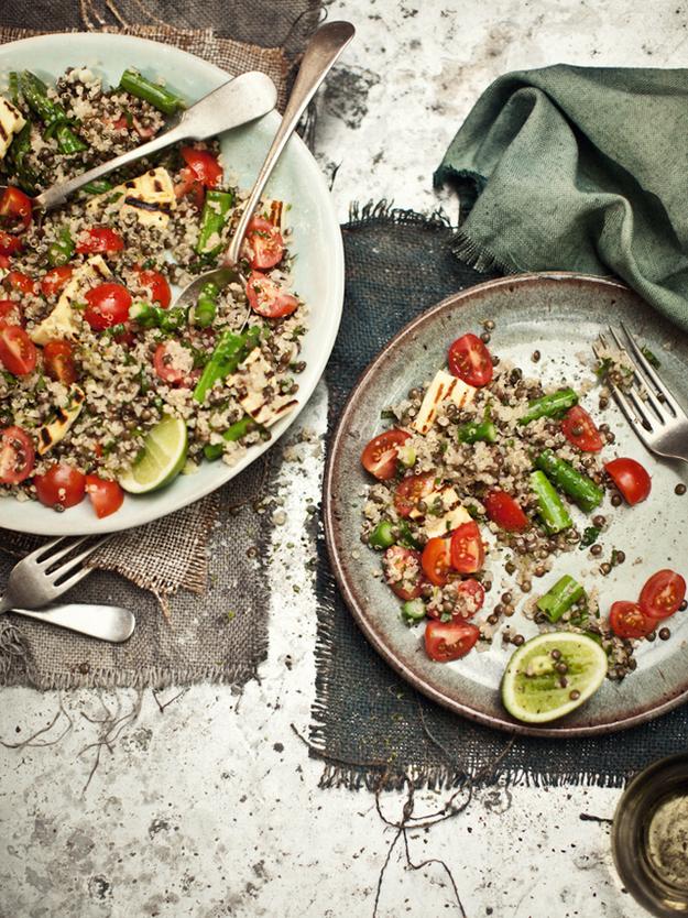 Quinoa And Lentil Salad With Asparagus, Mint, And Haloumi