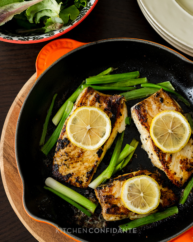 Garlic And Herb Halibut With Scallions