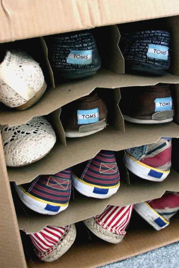 Store Your Shoes In Wine Boxes Under The Bed.