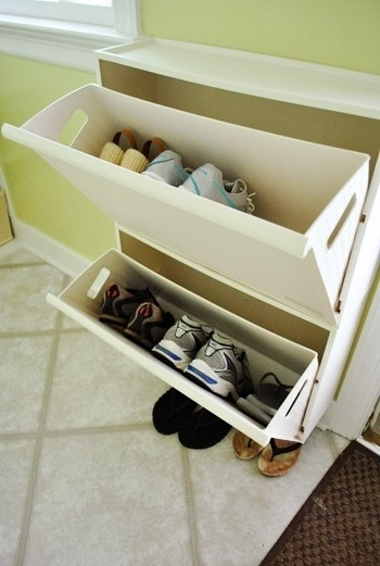 Use Recycling Bins From Ikea To Store Shoes In An Entryway.