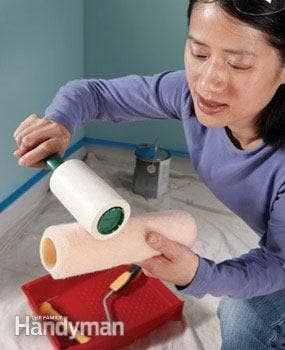 Or wrap it in painter's tape, then peel it off. This will keep those fuzzies from getting into the paint.