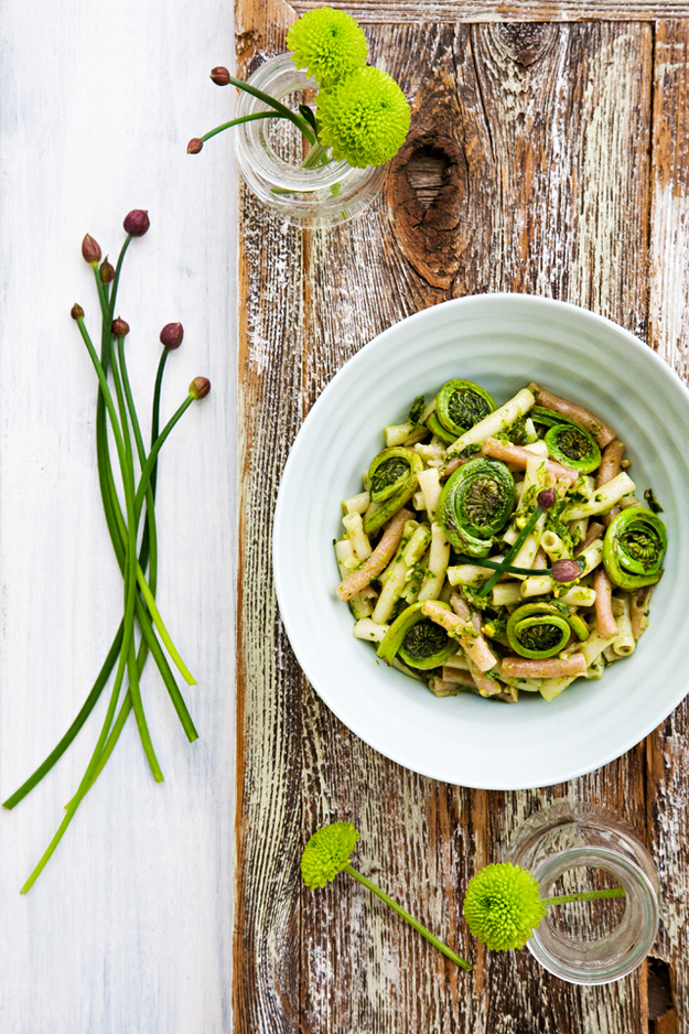 Fiddleheads And Chives With Quinoa Pasta