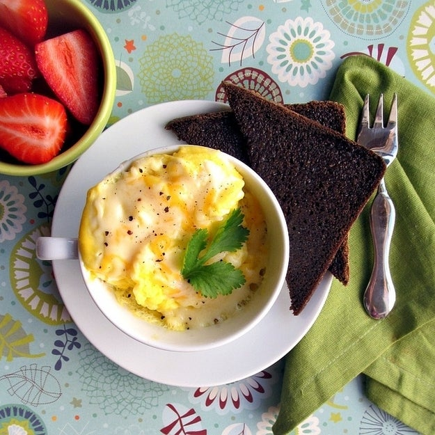 Scrambled eggs are arguably the easiest egg dish to make in the microwave. This recipe takes only two minutes to make.