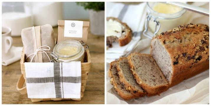 Regálale una canasta de desayuno que pueda disfrutar tranquila. Llénala con mantequilla de miel y pan de banana como en este blog.