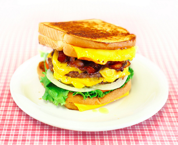 Double Bacon Cheeseburger with Grilled Cheese Buns