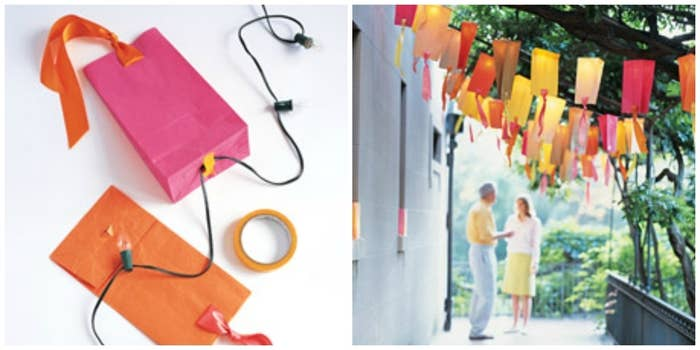 Cut small slits in paper bags and cover string lights-- hanging ribbons add a party vibe. Find the full tutorial here.