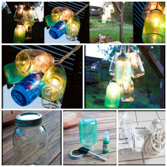Cover canning jars in translucent glass paint and hang them from chord fixtures to create a cluster of colorful lights, like this blogger did.