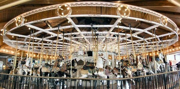 """This stunning carrousel has been in the City of Spokane since it first began operation, and to this day it is undoubtedly one of the most popular attractions in Spokane. It originally was built and installed as a wedding gift for Charles Looff's daughter. Carrousels designed and built by master craftsman Charles Looff have historically taken the French spelling, """"carrousel""""."""