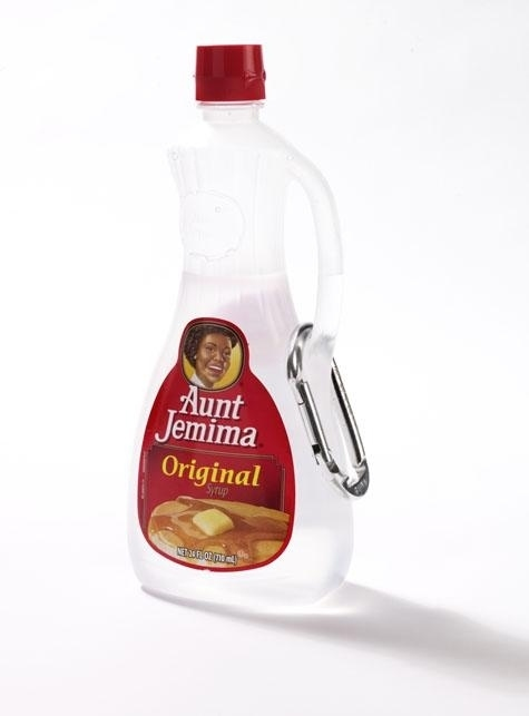 Turn an empty pancake-syrup bottle into a portable squirtable water bottle.