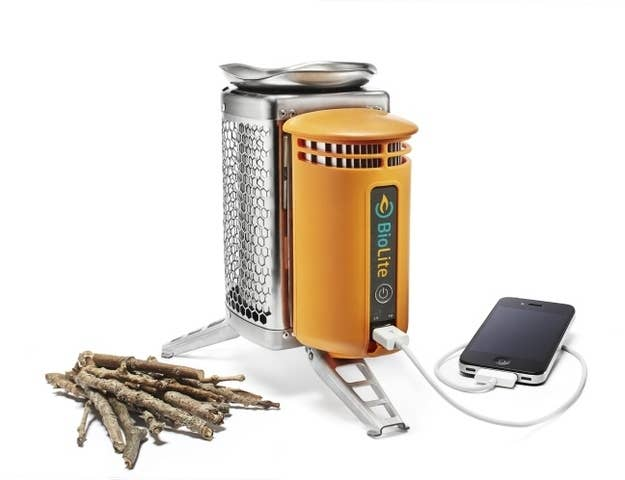It acts as a stove AND a charger for your electronic things. Get it here for $129.95.