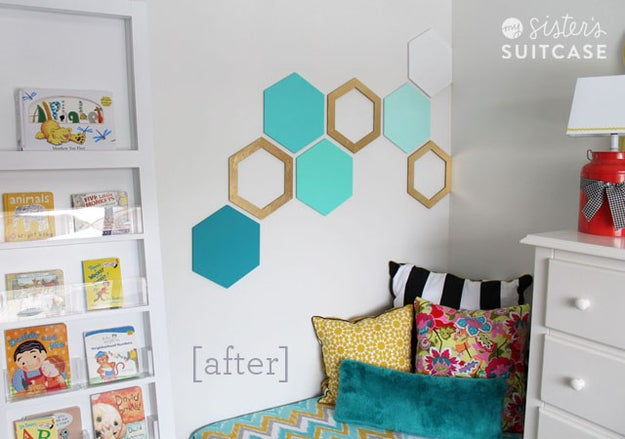 Typically, dorm rooms are much like rented apartments in that you're not allowed to mess with the walls too much. It can be tricky finding ways to spruce up blank walls that's not too invasive, but this is a cute and funky way to do just that! Bonus: you can tell your roommate it's in the shape of a really common molecule and watch her academic insecurities skyrocket.