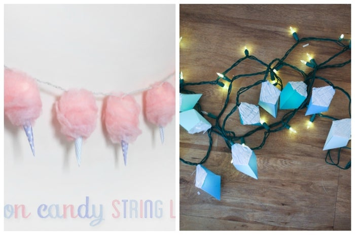 This whimsical take on a childhood favorite was created by Kia from With Lovely.The materials: cotton batting, lantern string lights (white or pink), light pink spray paint, spray glue, decorative paper, scissors, and double-stick tape.