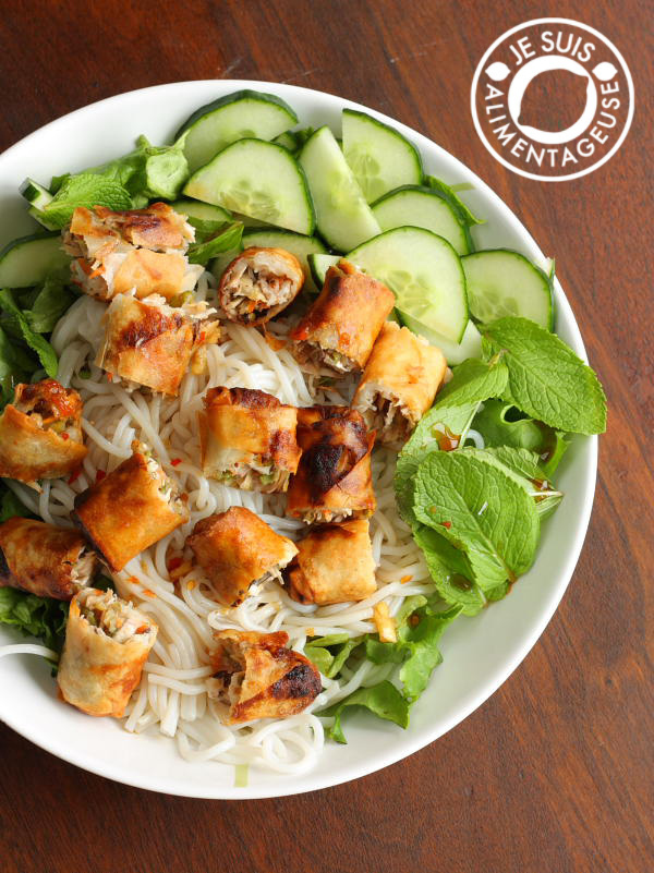 Vietnames Rice Noodles with Vegetarian Spring Rolls