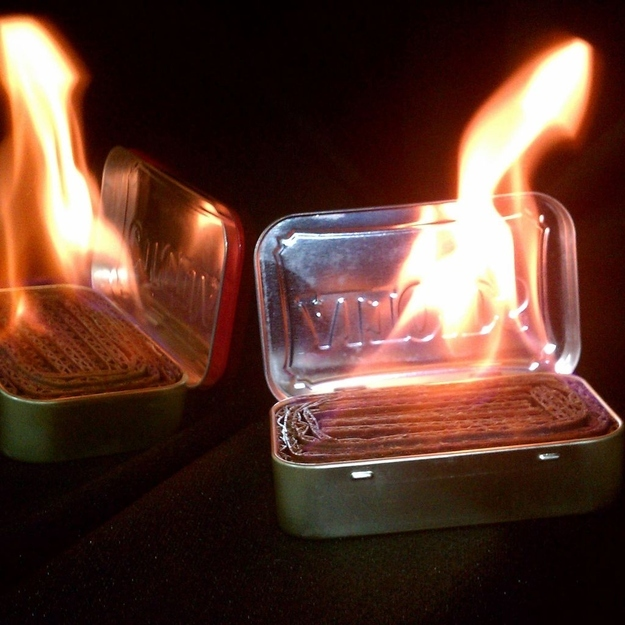 Make emergency light sources out of an Altoids tin, cardboard, and wax.