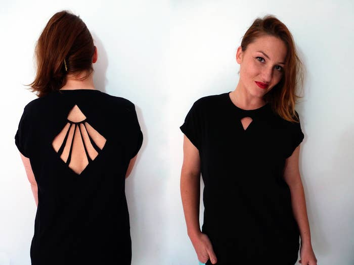 This abstract cut-out was created by Marta at Second Funniest Thing, and it's chic enough for a night out.What you'll need: a basic T-shirt (the one shown is a men's shirt), fabric chalk, this template, pins, and scissors.