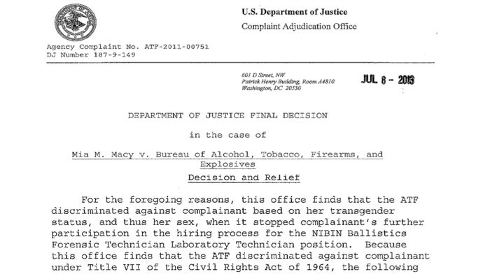 An excerpt from Mia Macy's final decision by the Justice Department.