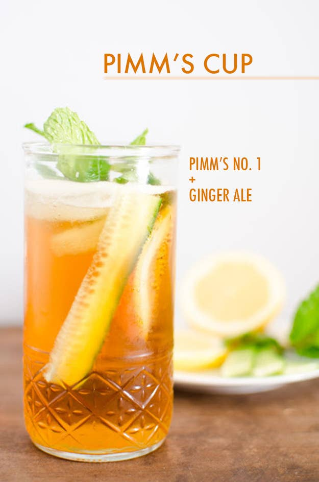 Muddle a cucumber slice, lemon slice, and a sprig of fresh mint in the bottom of your glass. Add a shot or two of Pimm's and top with ginger ale. (Okay, so including the veggies this may be a few more than two ingredients. But it's still dead easy to make and a perfect summer drink in every way, so hush your mouth.)