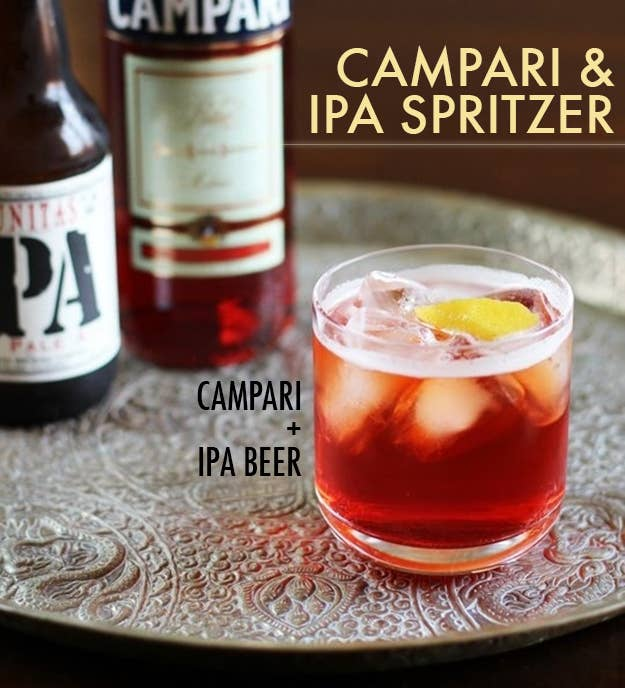 The dynamic duo of bittersweet Campari + fizzy, hoppy IPA (use whatever brand you like) is surprisingly great and very refreshing. Top one or two shots of Campari with about half a bottle of beer. Garnish with a lemon twist.