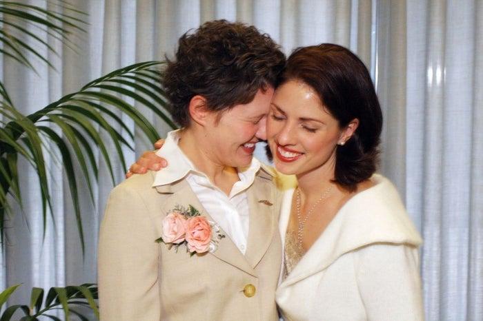 Sarah Ellyn Farley, left, and Jennifer Tobits on their wedding day.