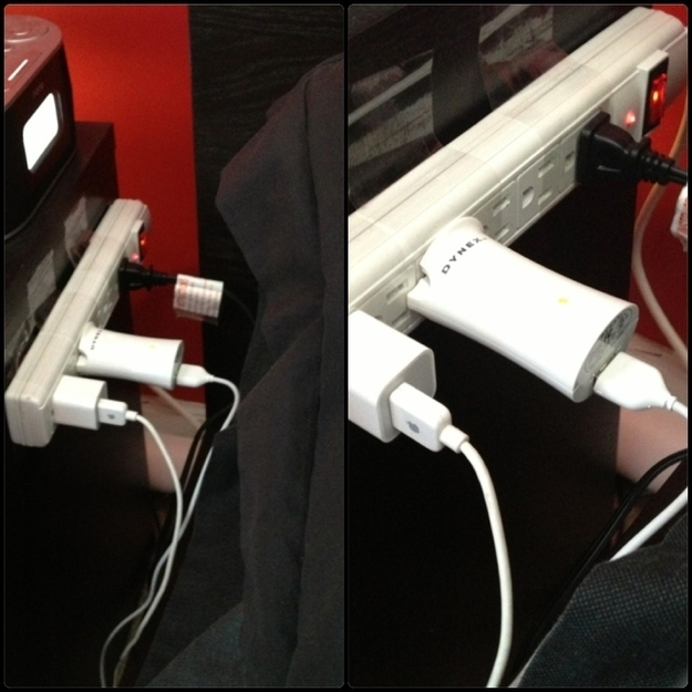 Have short charger cords? Need a power strip near your bed? Tape it to your nightstand.
