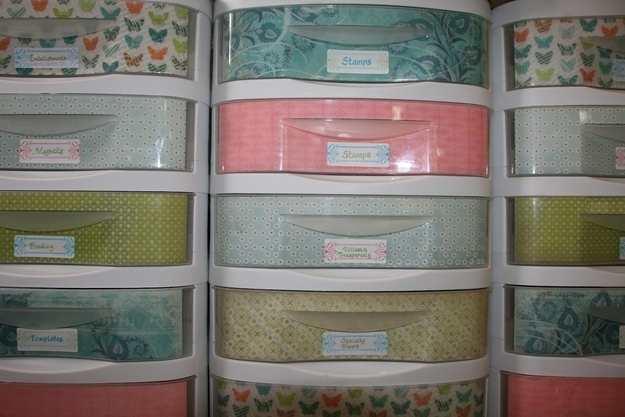 Line Your Standard Plastic Storage Drawers With Decorative Paper. Part 33