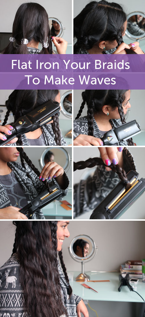Flat-iron your braids to create long-lasting waves.