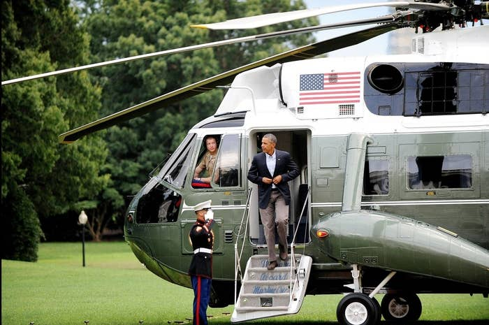 President Barack Obama exits Marine One as he arrives back at the White House on Friday.
