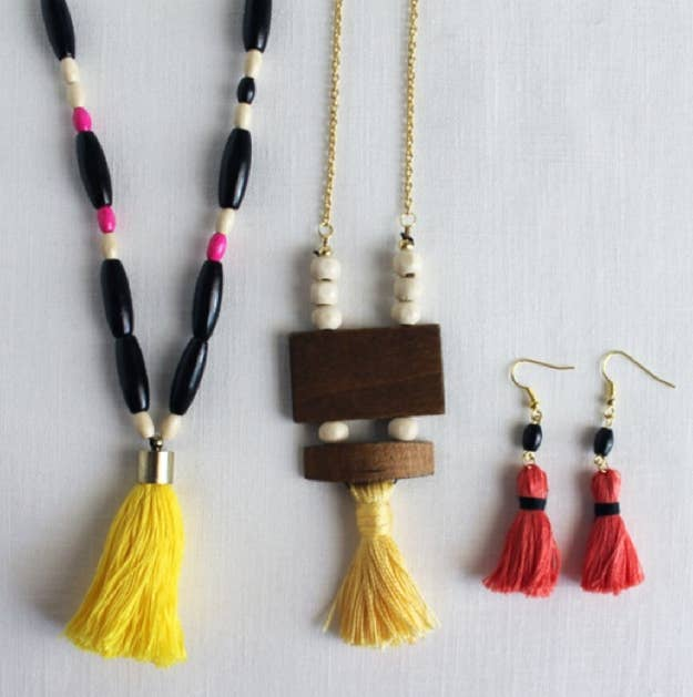 Mix a few beads in with your tassels to make some eye catching accessories.