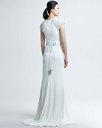 Badgley Mischka Couture Belted Deco Gown$3,245