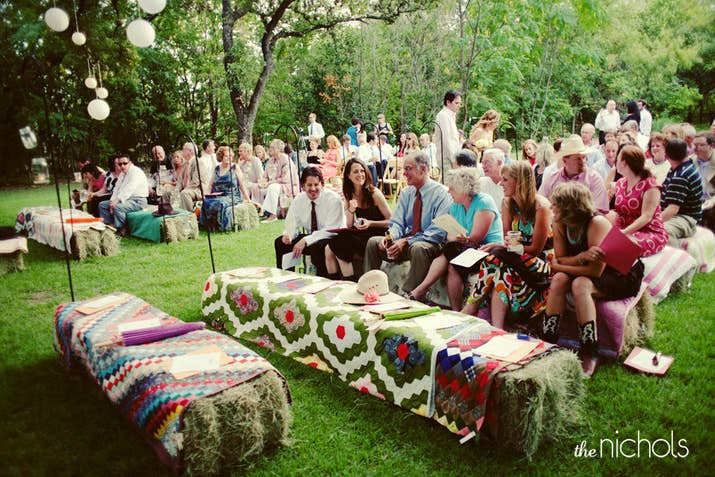 32 totally ingenious ideas for an outdoor wedding 14 instead of chairs throw brightly colored blankets and quilts over bales of hay junglespirit Gallery