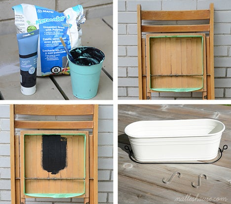 """Materials: a wooden folding chair, chalkboard paint, chalk, """"s"""" hooks, and a tray or bucket. (You can also make your own chalkboard paint by mixing unsanded grout and black paint by following this recipe.1. Tape off the edges around the underside of the seat with painter's tape, then paint it with your chalkboard paint (you may want to prime your wood first if it has any paint or finish on it).2. Add an organizer to the bottom of the chair by hanging a tray from the cross bar using """"s"""" hooks.3. Hang your chair/command centre. The one shown is hanging from a coat hook in a foyer. The tray at the bottom is perfect for holding sunglasses, keys, cellphone, etc. and even for adding a little greenery or flowers to the space.*before using your chalkboard you will want to slate it (i.e., rub it lightly with chalk and then rub the chalk off with a cloth)"""
