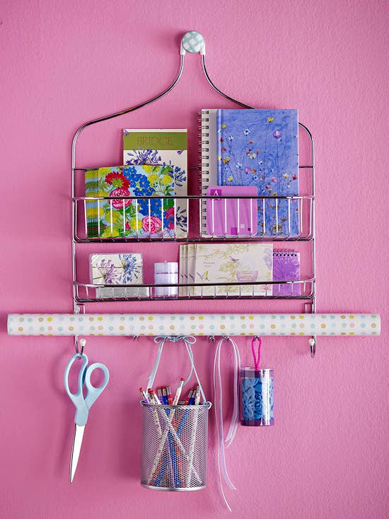 use a shower caddy to organize your school supplies and save desk space - How To Make Your Room Organized