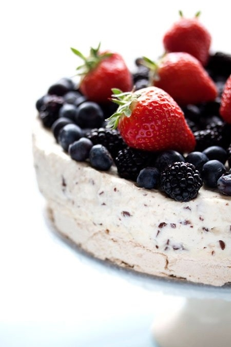 Meringue Ice Cream Cake with Summer Berries