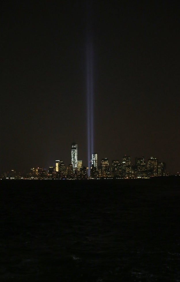 Tribute In Light shines from lower Manhattan.